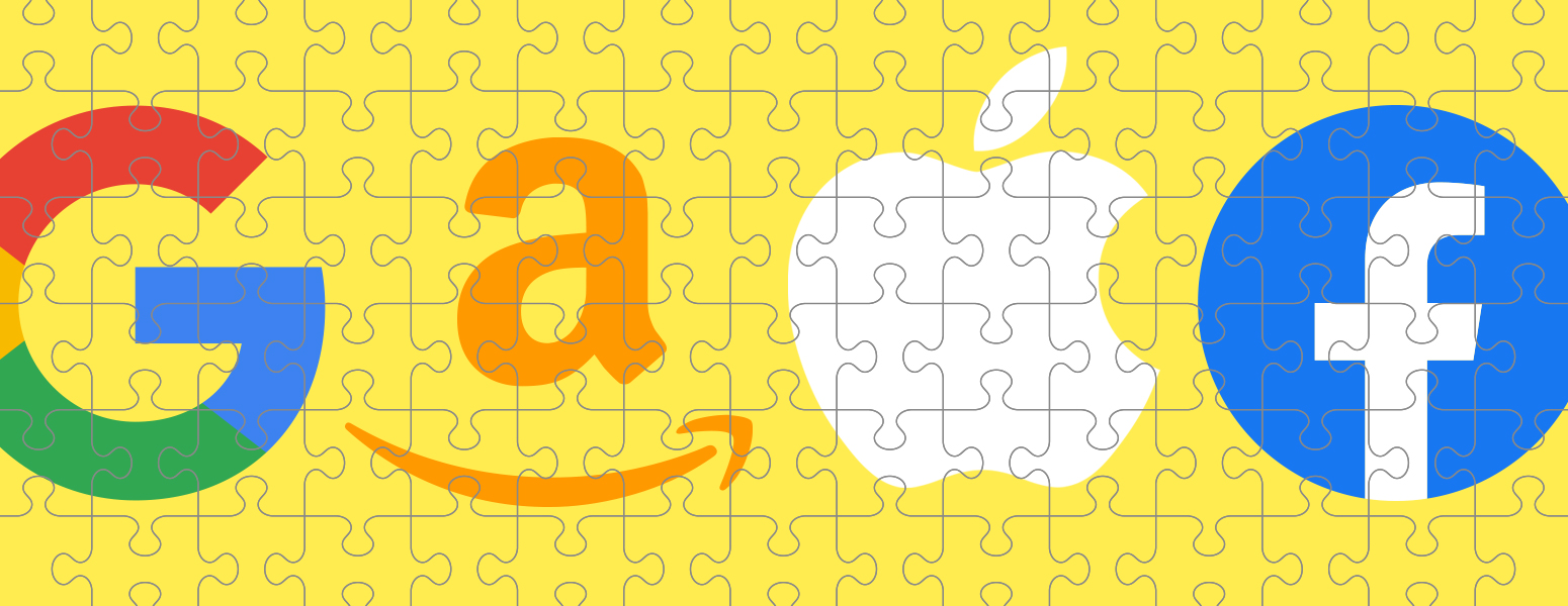A jigsaw puzzle with the logos of Amazon, Apple, Google, and Facebook