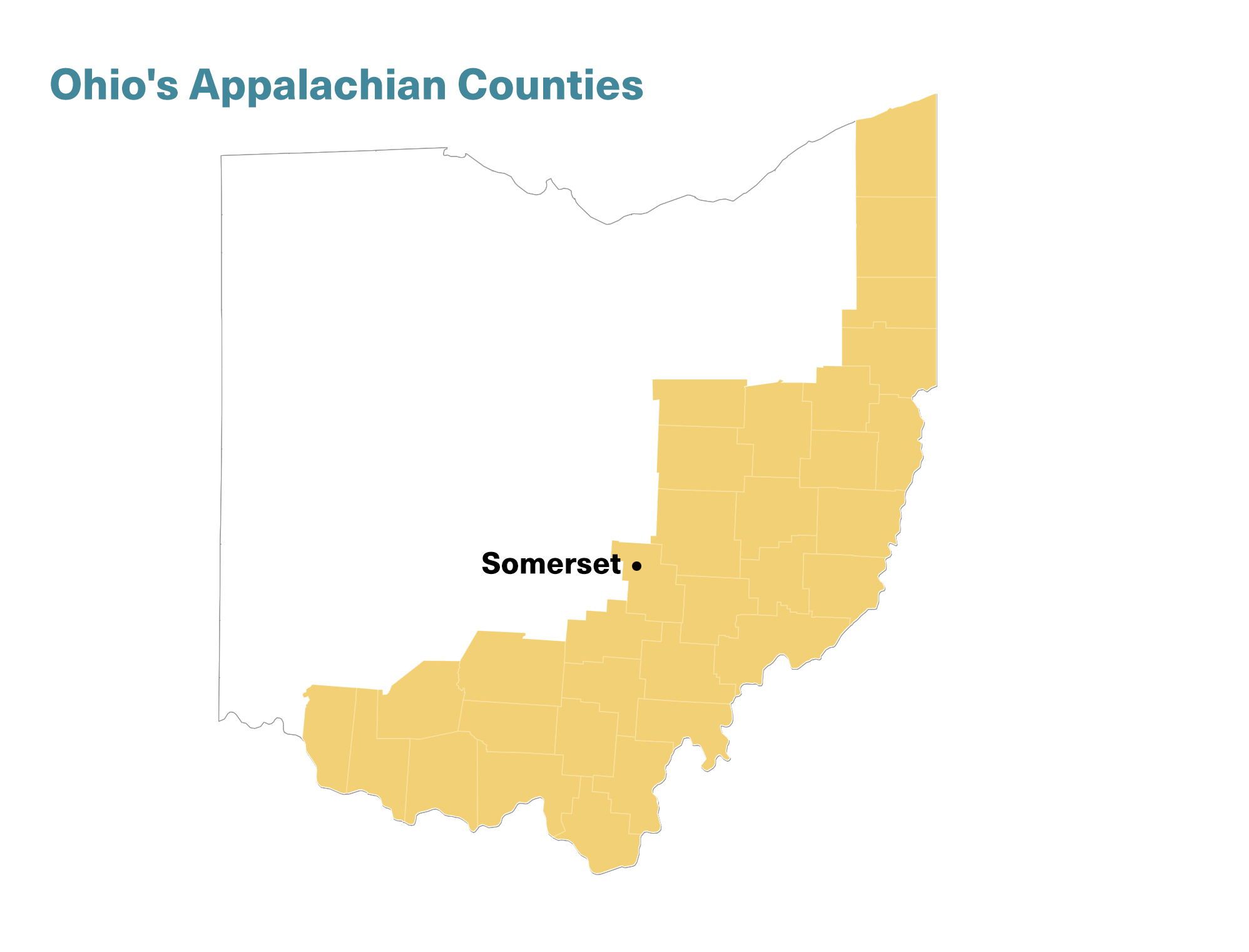 Location of Somerset, Ohio, on a map of Appalachian Ohio