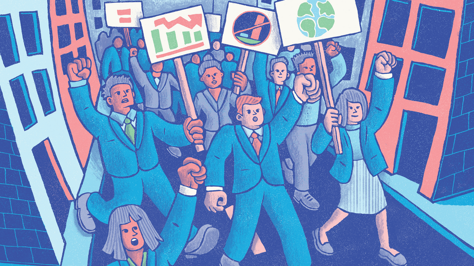 An illustration of people in business clothes marching with signs