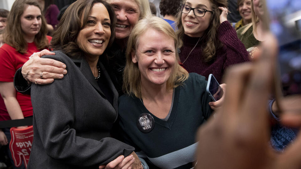 Kamala Harris campaigning in Iowa in February 2019. Photo: Daniel Acker/Bloomberg via Getty Images.
