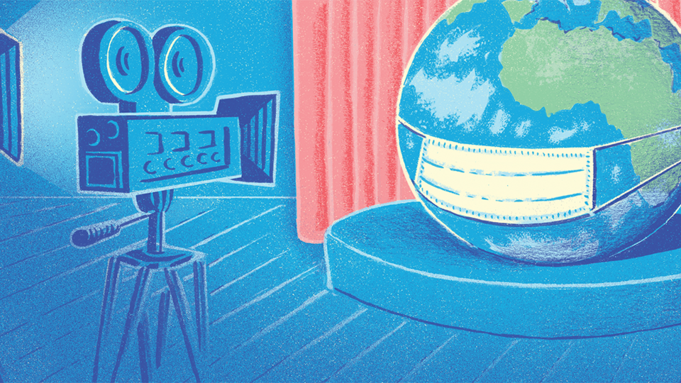 An illustration of a the planet earth wearing a mask in a TV studio