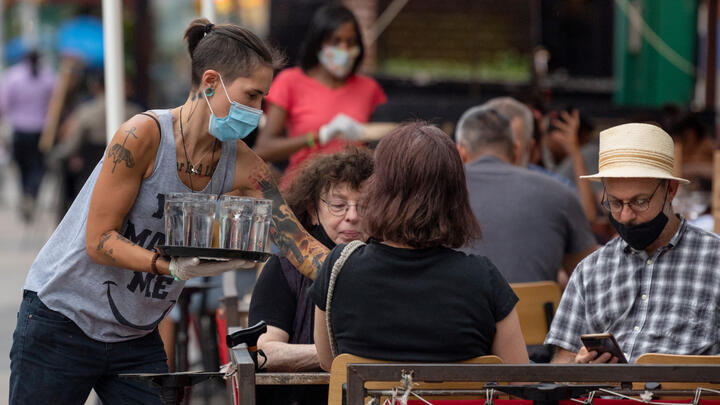 Outdoor service at a restaurant in New York City on July 30, 2020.