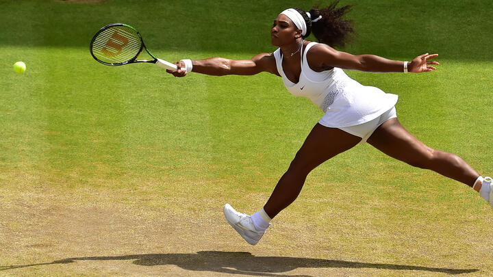 Serena Williams at the 2015 Wimbledon Championships. Photo: Dominic Lipinski/Pool/AFP via Getty Images.