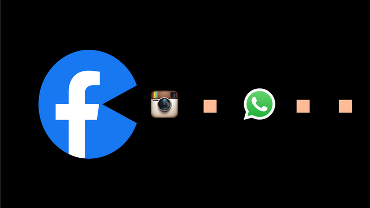 An illustration of a Facebook logo as Pac-Man eating Instagram and WhatsApp logos