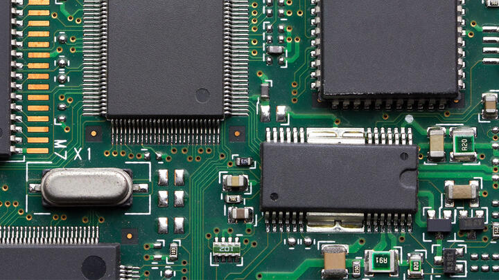 microchip closeup on printed board