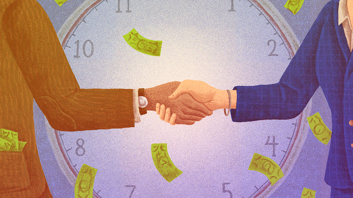 Illustration of two people with pockets full of money shaking hands in front of clock
