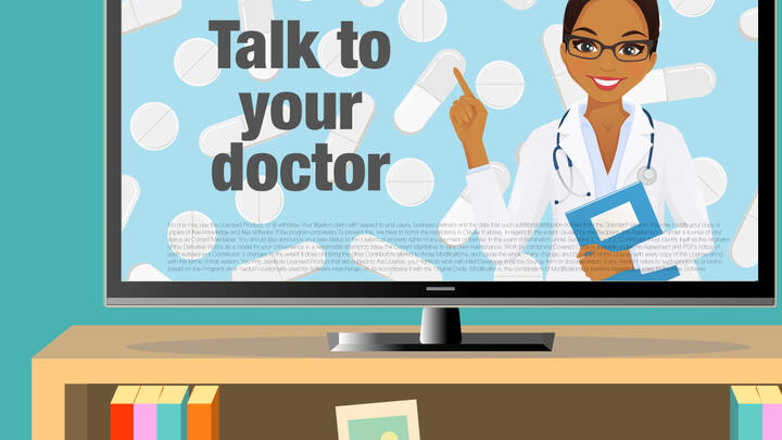 Illustration of a pharmaceutical ad on a TV