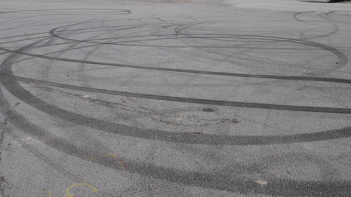 Image of skid marks on asphalt