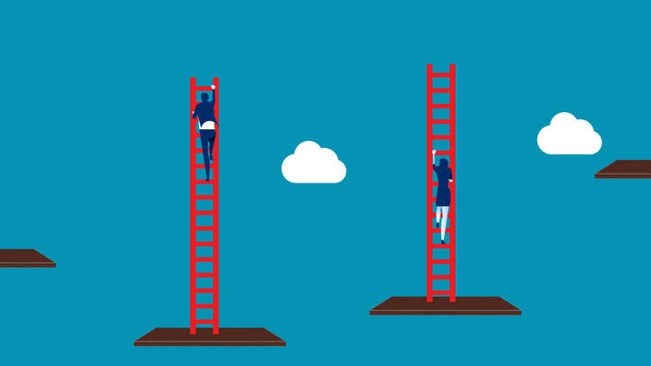 Illustration of people climbing ladders starting at different levels in the sky
