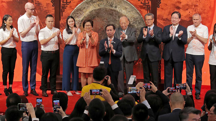 The Alibaba Group's listing ceremony at the Hong Kong Stock Exchange on November 26, 2019. Photo: AP Photo/Kin Cheung.