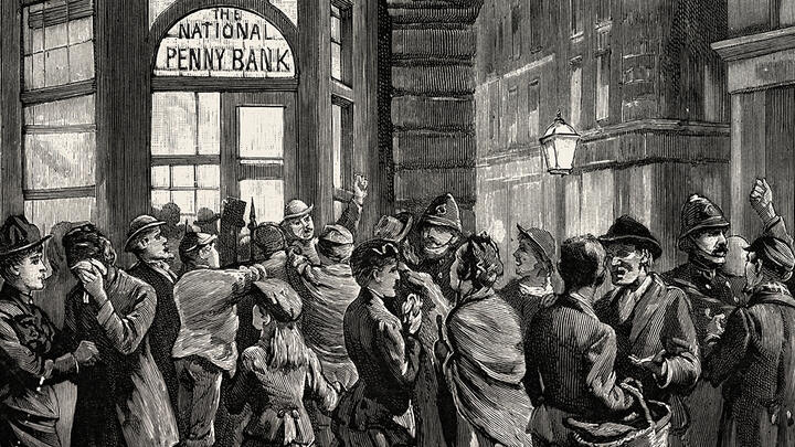 A run on the National Penny Bank in London in 1888. Image: Universal History Archive/Universal Images Group via Getty Images.
