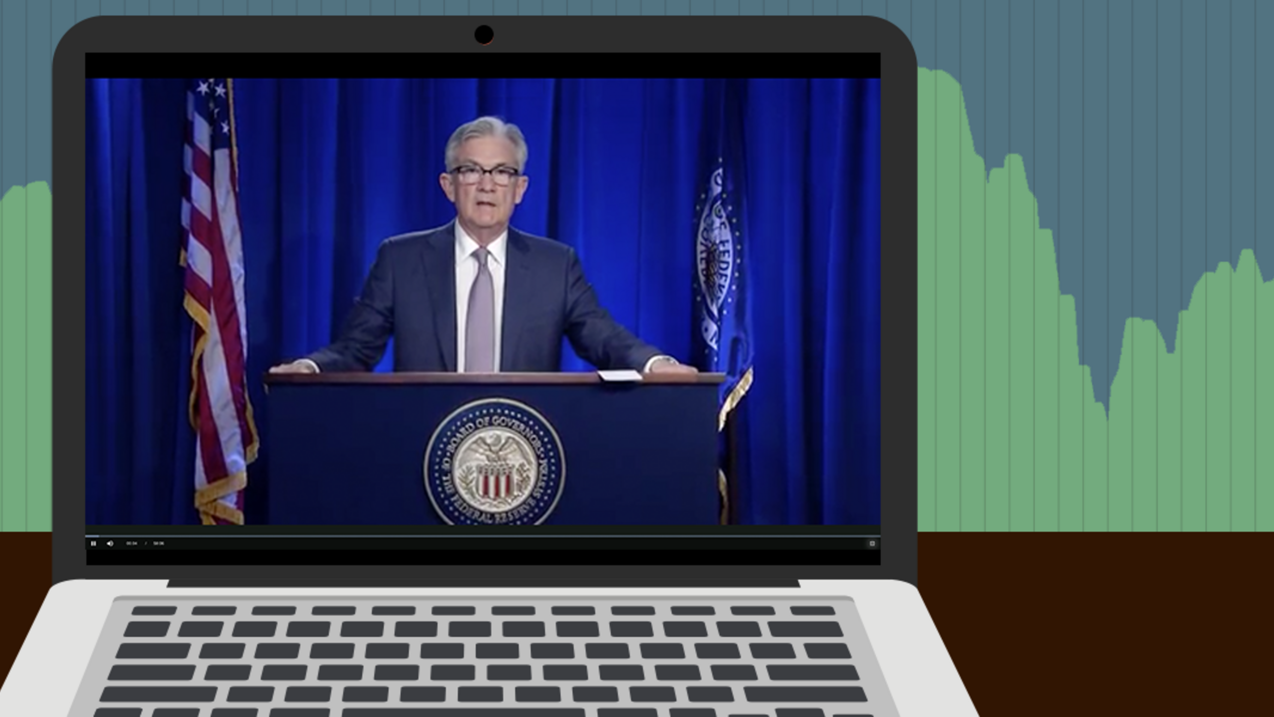 An illustration of Fed chair Jerome Powell speaking on a laptop in front of a stock chart