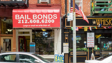 A bail bonds storefront in New York City