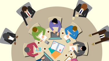 Illustration of a small team at a table sitting on top of a larger table with board members