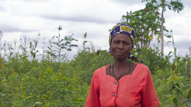 Mary Musa on her farm in Malawi in 2010.