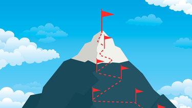 An illustration of a mountain with a path marked by small flags and a large flag at the top.