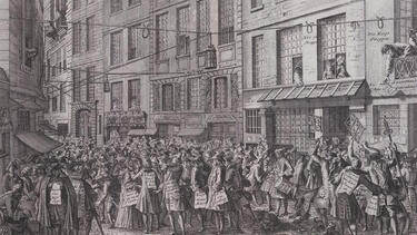 An 18th-century print of a crowded street