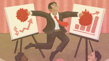 An illustration of an entrepreneur leaping in the air and wearing pom-poms while presenting