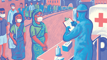 An illustration of people lined up for COVID checks in India