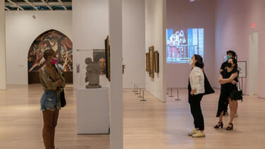 Visitors at the Whitney Museum of American Art in New York City in September 2020. Photo: Jeenah Moon/Bloomberg via Getty Images.