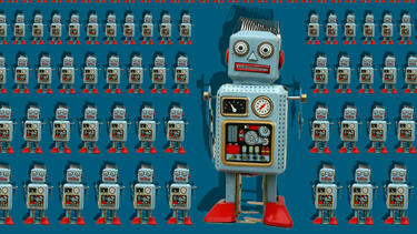 A photo illustration of legions of toy robots