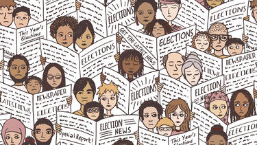 An illustration of people reading newspapers with election news.