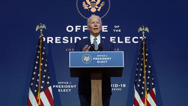 President-Elect Joe Biden speaks to the media on November 9, 2020, in Wilmington, Delaware. Photo: Joe Raedle/Getty Images.