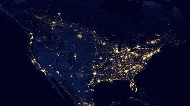 A satellite view of North America at night