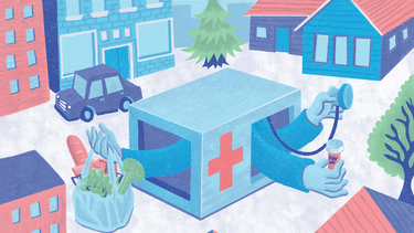 An illustration of a clinic at the center of a neighborhood