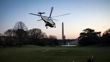 Marine One departing the South Lawn of the White House