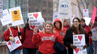 Teachers protesting Wisconsin governor Scott Walker's proposal to eliminate collective bargaining for state workers, in 2010. Photo: Mark Hirsch/Getty Images.