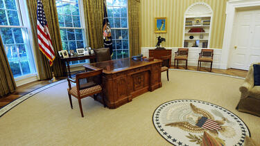The empty Oval Office in the White House