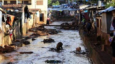 Housing built along the riverbanks in Freetown, Sierra Leone