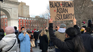 An End The Violence Towards Asians rally in New York City's Washington Square Park on February 20, 2021. Photo: Dia Dipasupil/Getty Images.