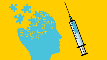 An illustration of a puzzle in the shape of a head and a syringe