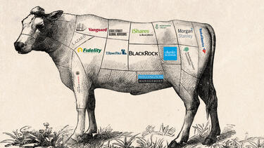 Illustration of cow carved up for butchering but with Investment Bank names describing pieces