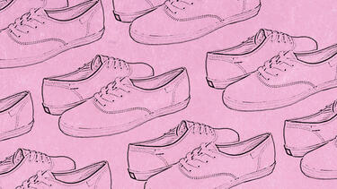 Several pairs of sneakers illustrated with a pink overlay