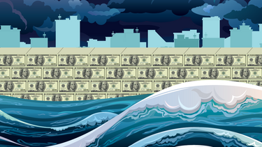 An illustration of rising seas being held back by a wall of money