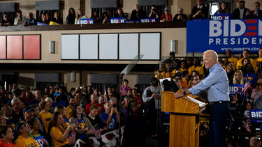 Former vice president Joe Biden campaigning in Pittsburgh on April 29. Photo: Jeff Swensen/Getty Images.