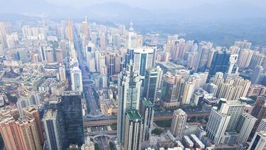 Skyline of Chinese metropolis during daytime