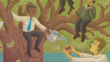 An illustration showing executives in a tree watering a smaller plant.