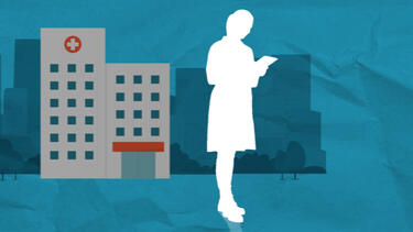 Illustration of a hospital and a person reading a bill