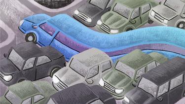 Illustration of an Uber driver enjoying flexibility