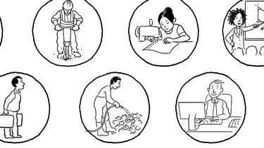 Illustration of people doing different jobs