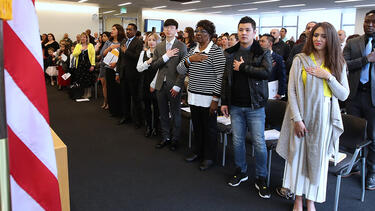 New U.S. citizens at a ceremony in Salt Lake City in April 2019. Photo: George Frey/Getty Images.