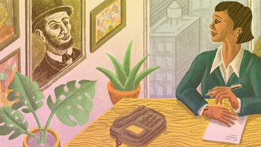 An illustration of a CEO writing a letter with a portrait of Abraham Lincoln on the wall
