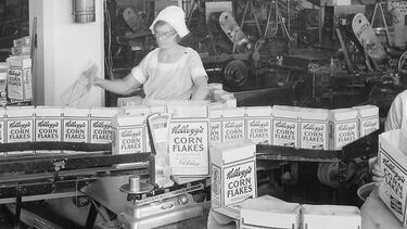 Workers in a Kellogg factory