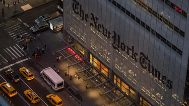 New York Times building at dusk