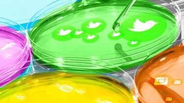 Petri dishes growing icons of popular social media platforms