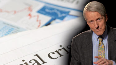 Robert Shiller superimposed over images of newspapers from during the global financial crisis